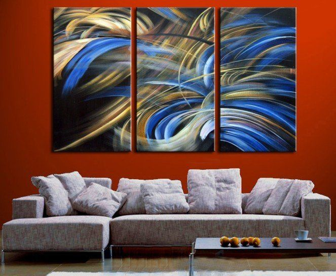 Handpainted 3 Piece Beautiful Modern Abstract Oil Painting On Canvas Wall Art Picture For Home Decoration
