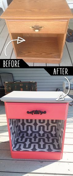 DIY Furniture Makeovers – Refurbished Furniture and Cool Painted Furniture Ideas for Thrift Store Furniture Makeover Projects | Coffee Tables, Dressers and Bedroom Decor, Kitchen | Color and Wallpaper Night Desk Revamp | diyjoy.com/…