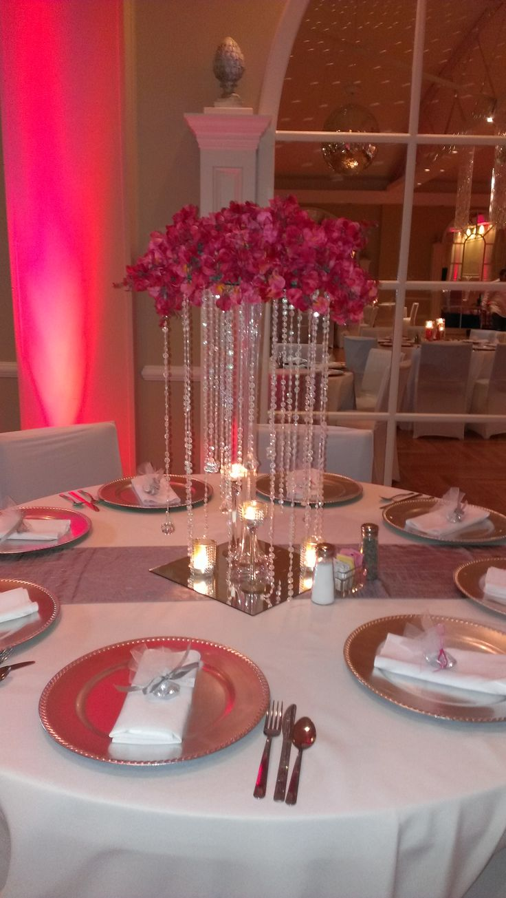 crystal wedding centerpiece arrangement, tall , wedding centerpiece lavish wedding, elegant centerpieces, bling wedding, red and white wedding,