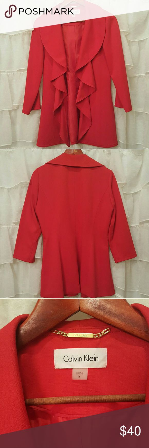 Gorgeous red Calvin Klein jacket The pictures say it all. This is a stunner! Beautiful like new red Calvin Klein jacket. Calvin Klein Jackets & Coats Blazers