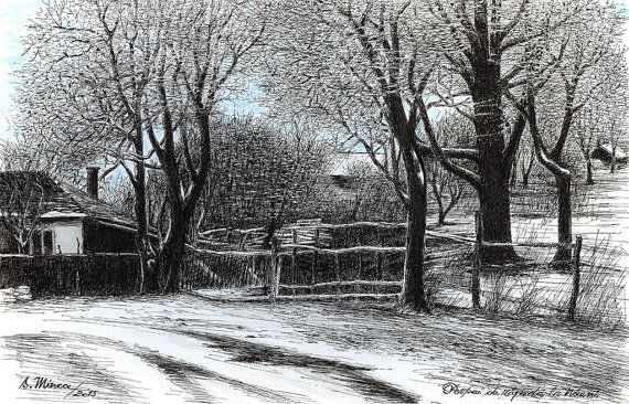 Dust of Snow in Naeni - art print from original ink painting