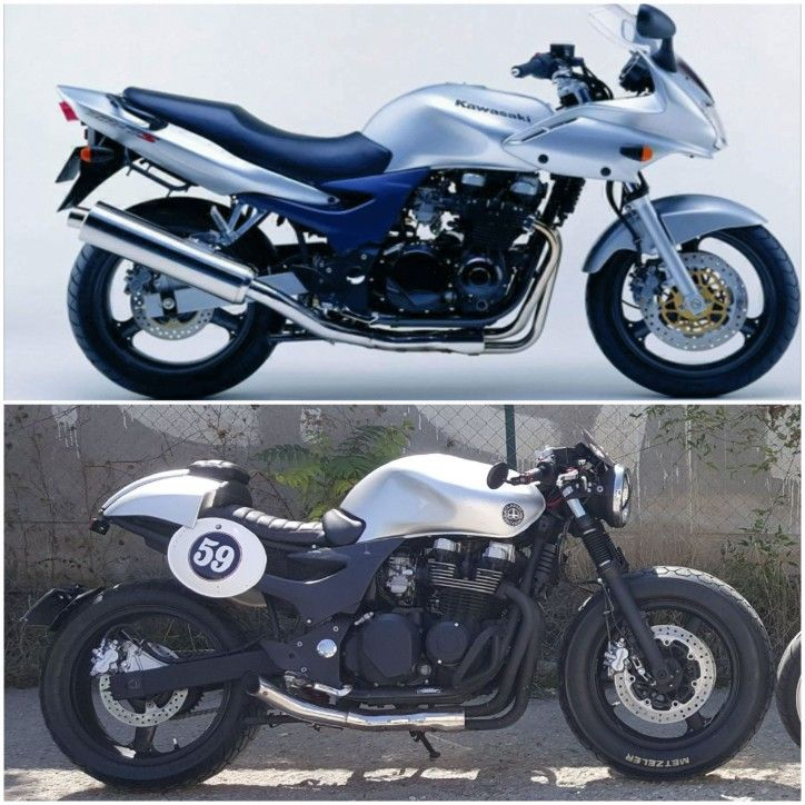Project Kawasaki zr7 Cafe racer Project Carcerano Emiliano-first after