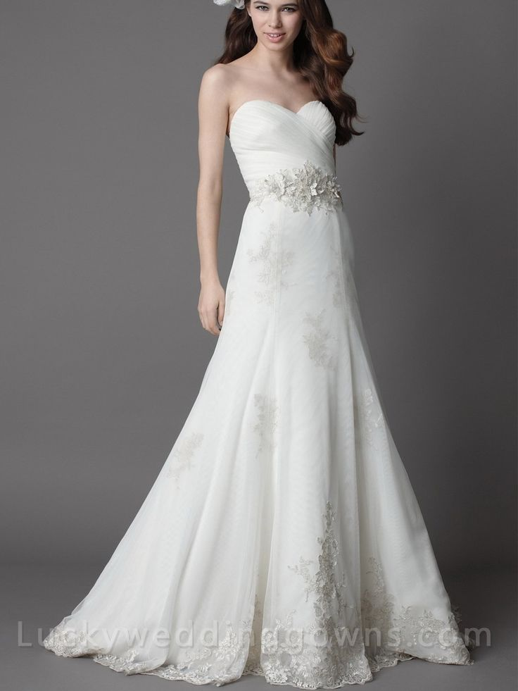 White Strapless Chapel Train Wedding Dress with Full A-line Skirt