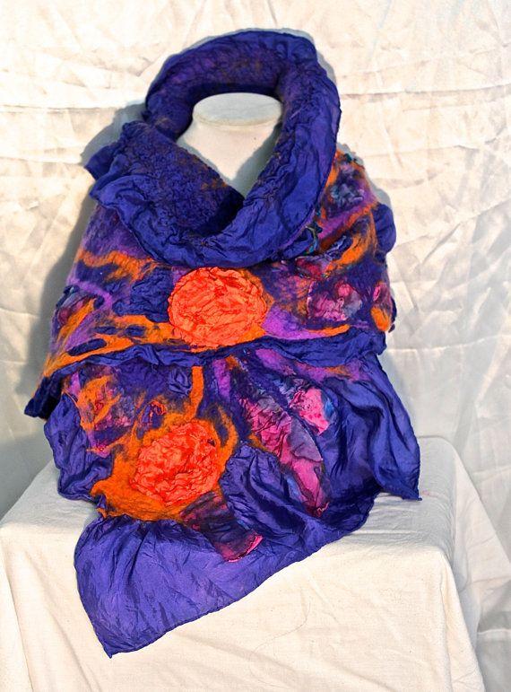 Nuno Felted Wool Scarf Royal Blue and Orange by MindfulPresents
