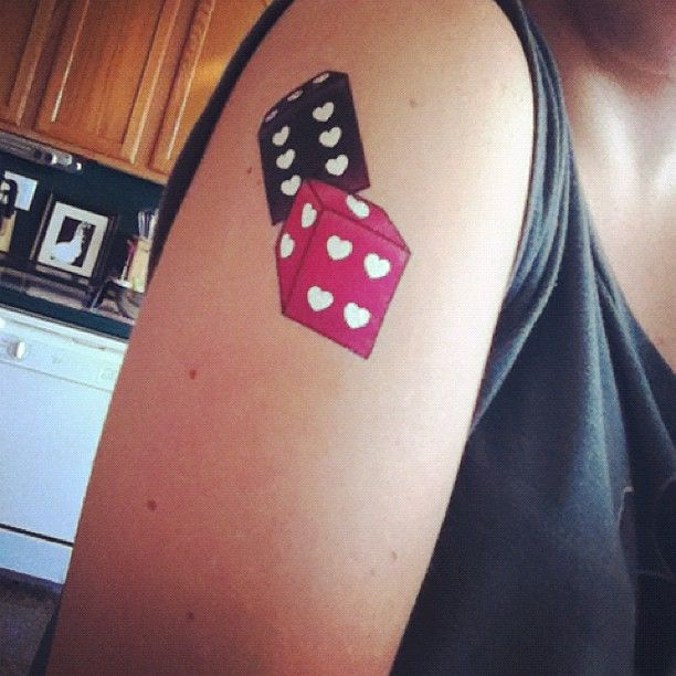 HeartDice #Black #Pink #tattoo.. I like the hearts on the dice