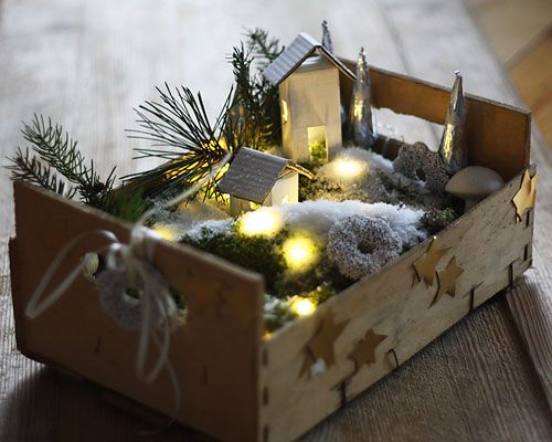 Little christmas landscape in a box  (use clementine boxes)  (Weihnachtslandschaft in einer Obstkiste)
