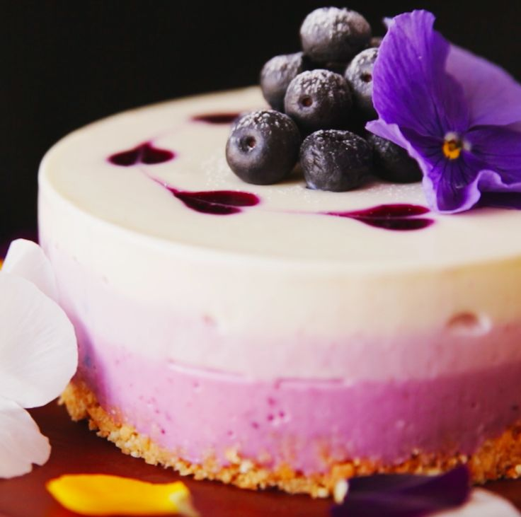 How to make a no-bake blueberry cheesecake. https://www.facebook.com/tastemade/videos/994957857258048/