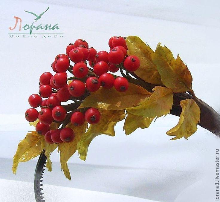 """Ободок """"Рябина красная"""" - цветы из полимерной глины,цветы ручной работы"""
