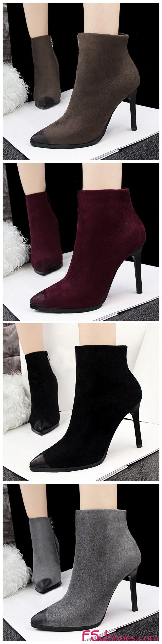 Womne's Fall and Winter Fashion Ankle Booties Fall Outfits Women Fall Fashion Trends 2017 Korea Street Style Fashion Week Winter Outfits 2017 Women's Grey, Burgundy, Black, Grey Suede Stiletto Heels Ankle Boots Christmas Outfit 2017   FSJ