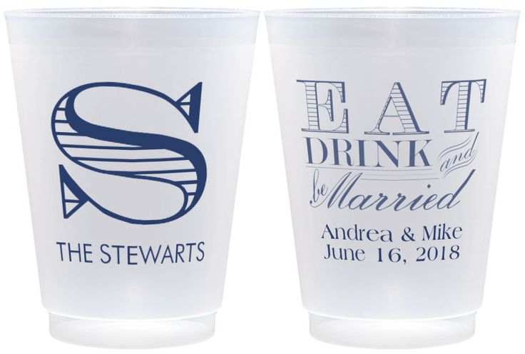 Give your wedding a customized touch with these reusable cups. These cups make for great place settings but also double as the perfect wedding favor that your guests can take home and cherish for years to come. Find more customizable cups here: http://myweddingreceptionideas.com/personalized_cups.asp