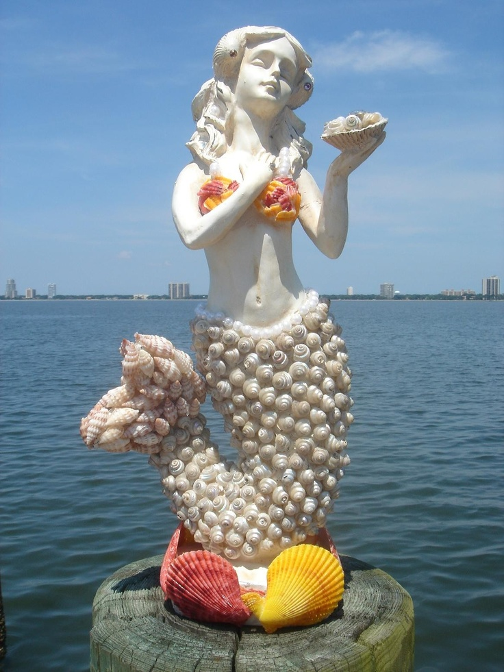 Seashell Mermaid Figurine by High Tide Creations: Embellished with small seashells, crystals, & pearls.