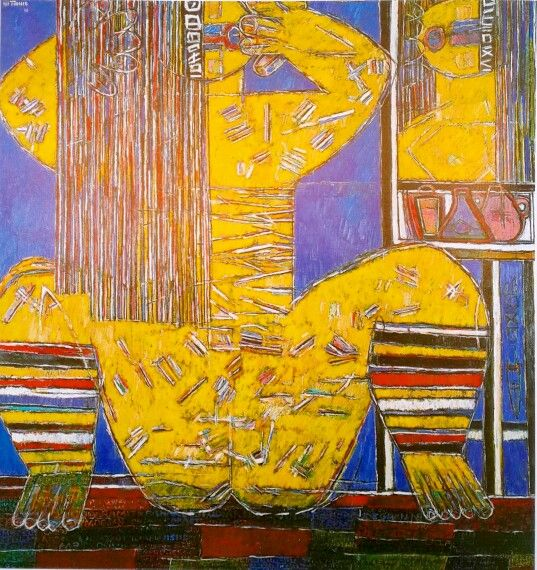 Moshe Tamir - Woman and Mirror (1998), oil on canvas 200x190 cm