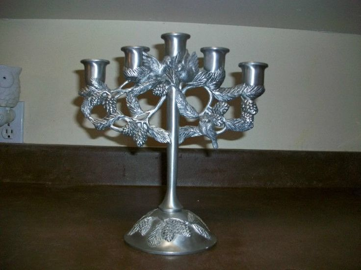 Seagull Pewter Candelabra (Holds 5 Candles), dated 2000. Pine Cones.