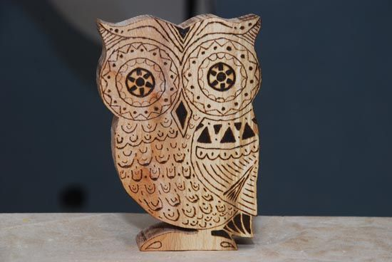 Wooden owl decoration