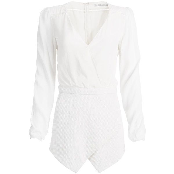 Rental Lovers + Friends Radiance Romper ($50) ❤ liked on Polyvore featuring jumpsuits, rompers, dresses, playsuits, white, white long sleeve romper, jump suit, v neck jumpsuit, long sleeve jumpsuit and white long sleeve jumpsuit