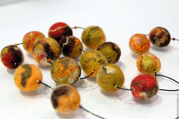 """Купить Войлочные бусы """"Листопад"""" - рыжий, коричневый, листопад, терракотовый, горчичный, бусы"""