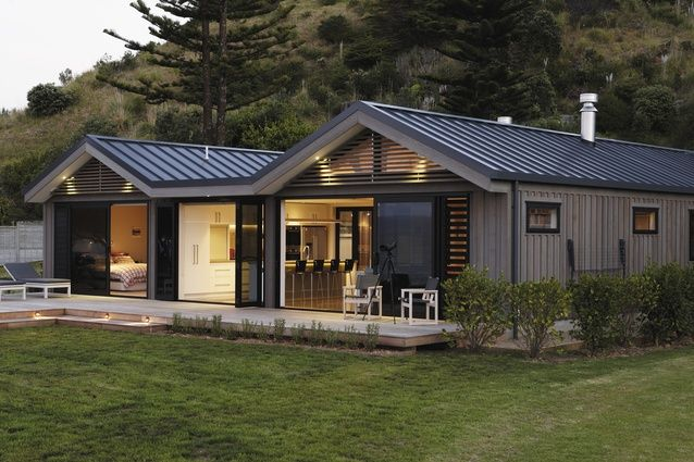 My kind of holiday home, or home like a holiday. The front elevation of this Kuaotunu beach house.