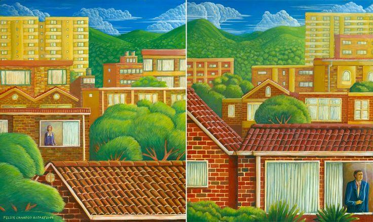 Felipe Camargo Rojas/ Distancia (díptico)/ Acrílico sobre madera preparada a la creta/ 25 x 21 cm c/u/ 2014
