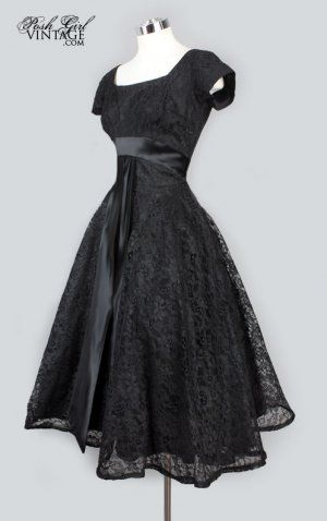 1950's Black Lace Tea Length Evening Dress