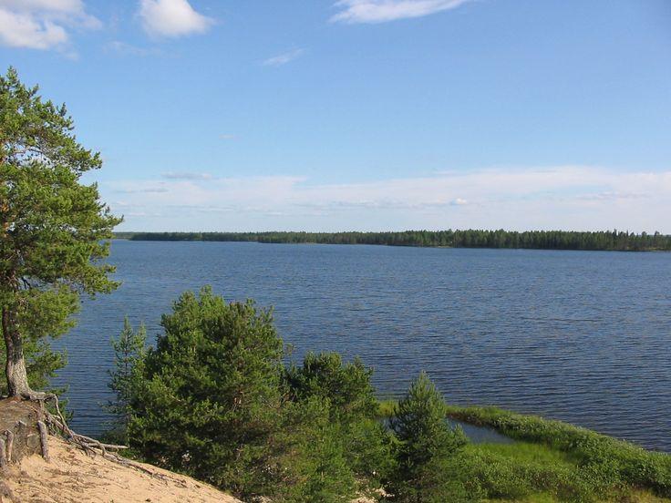 View to Saija Lodge from island Villinsaari in lake Jokijärvi, Taivalkoski, Kuusamo Lapland, Finland