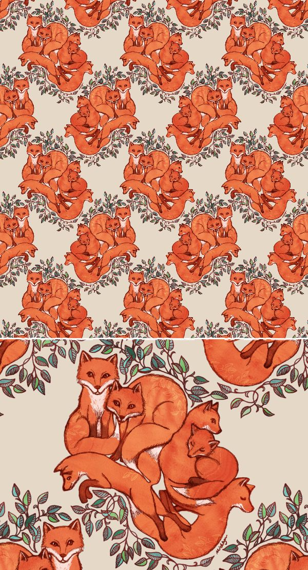 Fox Family Tangle - a cute animal illustration pattern by Micklyn Le Feuvre on spoonflower ☺