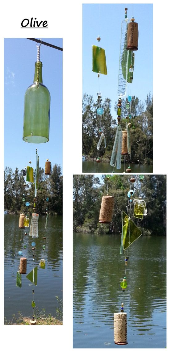 Our Wine bottle wind chimes are 100% unique and hand made to order. Each chime is made from a recycled wine bottle that was personally hand cut and sanded to perfection. We then add 4 hanging sections of colored and textured glass and beads each with a cork on it to create an amazing wine bottle wind chime sound. No 2 chimes will ever be the exact same!!! First choose your Bottle Color then choose a secondary color for us to design your chime with. #etsy #wine #gifts