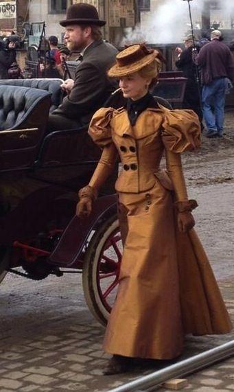 Mia Wasikowska filming 'Crimson Peak' (2015). Costume Designer: Kate Hawley