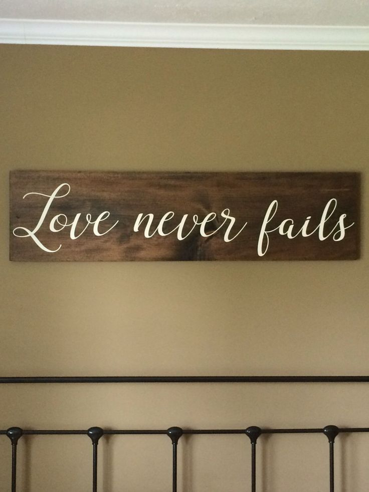 LARGE, Love never fails, love never fails sign, headboard, reclaimed wood, Corinthians 13:8 by ItsAGrayLife on Etsy https://www.etsy.com/listing/465879119/large-love-never-fails-love-never-fails