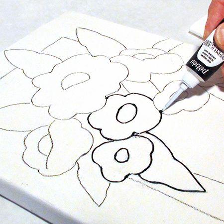 Faux vitrail on canvas faux vitrail sur toile deserres for Pebeo vitrail glass paint instructions