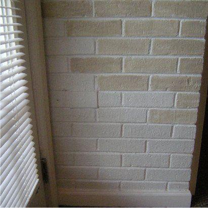 staining brick to a light beige color but still leaving. Black Bedroom Furniture Sets. Home Design Ideas