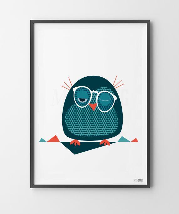 Nydelig ugle - spesielt og unikt design. Plakat poster norge print barnerom jenterom gutterom hverdagsgleder kul plakat nettbutikk i norge