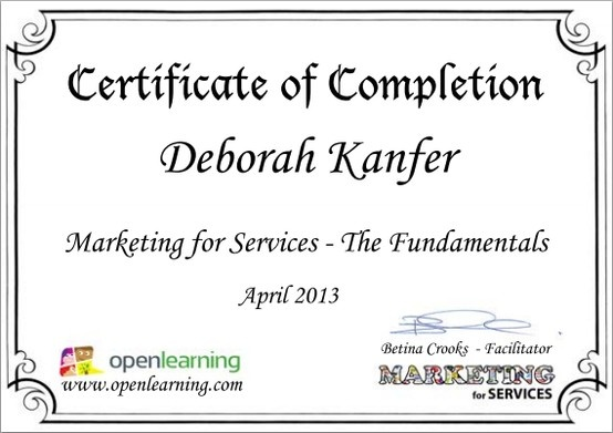 Service Marketing - Fundamentals course certificate 2013