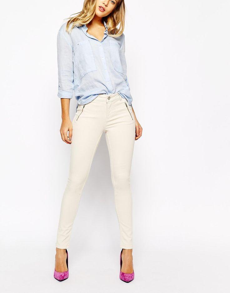 Oasis Jade Zip Detail Cream Jean