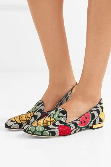 Charlotte Olympia - Fruit Salad Embroidered Canvas Slippers - Gray