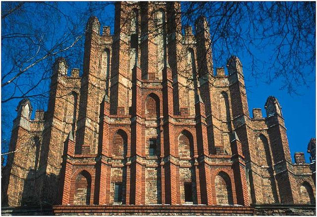 """CHURCH of St. James and St. Nicholas - Medieval Gothic Church in Chełmno, Poland. Chełmno is a town in northern Poland near the Vistula river with 20,000 inhabitants and the historical capital of Chełmno Land. Original name Chelmno comes from the old Polish word for hill: """"chelm""""."""