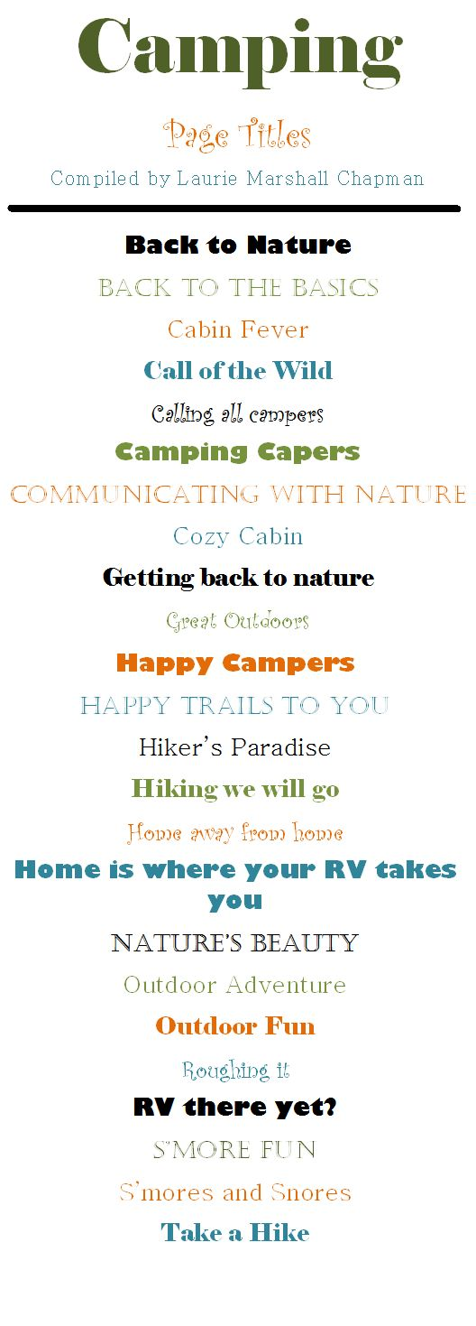 Fun page title ideas for your camping pages! #CreativeMemories