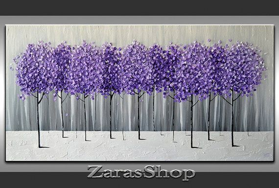 Original Modern Art 36x18 Textured Artwork Purple Lavender Trees Painting Gray Black White Abstract Landscape Large Canvas Unique Artwork