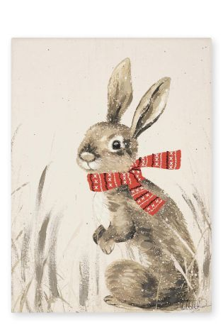 Bunny With Stitched Scarf Canvas
