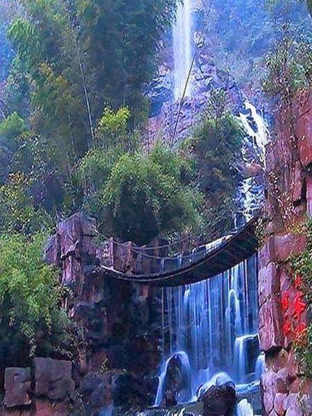 Amazing Waterfalls Around The World -1 - Baofeng Lake Waterfalls and suspension bridge in Zhangjiajie, China