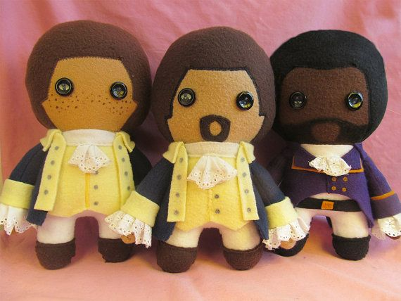 Alexander Hamilton Fleece Plush Doll by flightydollies on Etsy- links to hamilton but all 3 of these are INSANELY CUTE, YOU COULD MAKE ME THEM, maybe though I know you need a serger to do the hair, but LOOK HOW CUTE THEY ARE