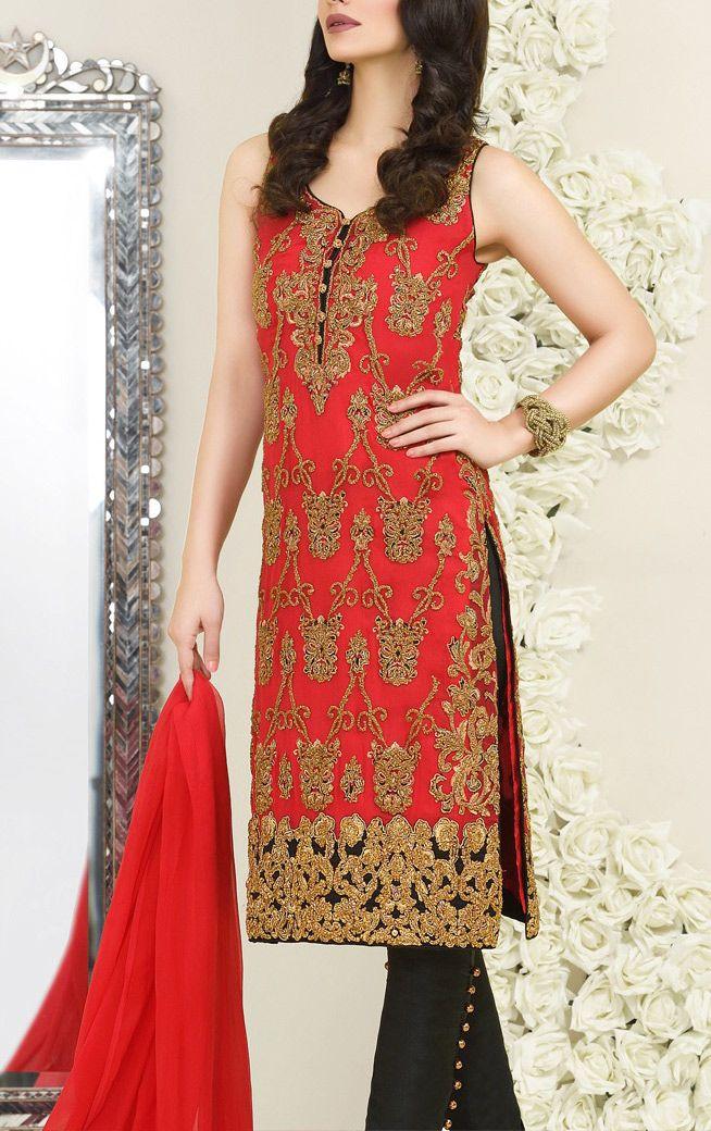 Buy Red Embroidered Chiffon Dress by Asim Jofa 2016