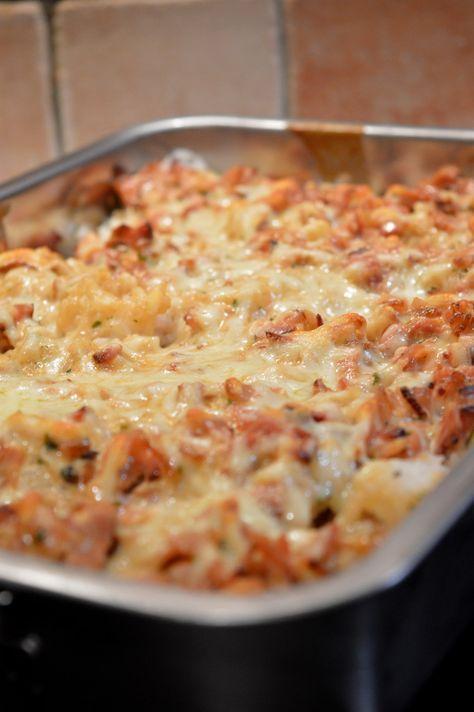 Ris och baconlåda med vitlök
