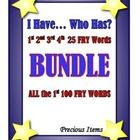 """I Have... Who Has? """"FRY"""" Sight Words BUNDLE set consists of the 1st set of 25 """"FRY"""" sight words, the 2nd set of 25 """"FRY"""" sight words, the 3rd set o..."""