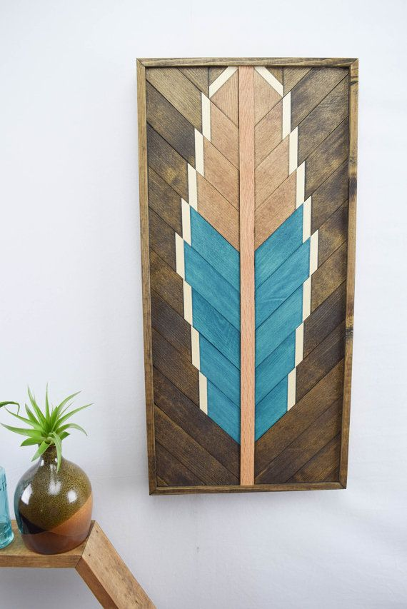 Reclaimed Wood Wall Art Hanging  Turquoise by RoamingRootsWoodwork