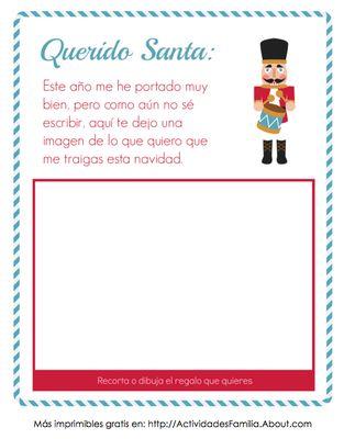 Carta para Santa Claus con espacio para una imagen. Especial para pequeñitos aún no escriben. #navidad #imprimible #spanish