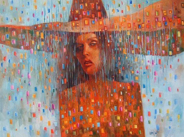 Es un artista muy personal, con muchas épocas y etapas diferentes. Lo que muestro es muy parcial. Sus pinturas de colores vivos, elementos surrealistas y grandes retratos. Se dice que  Laimonas se deja  inspirar por Picasso y Gustav Klimt. En su obra siempre  descubrimos la vida, la comunicación, tanto de la felicidad como de la  tristeza.