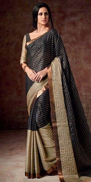 Gracious Black And Beige Silk Printed Saree.
