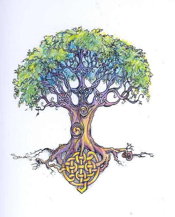 Celtic tree knots - art print or tattoo art.