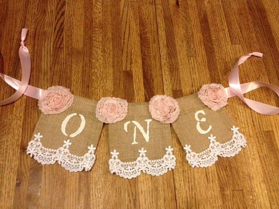 Baby's First Birthday High Chair Banner; Regular Burlap banner, Shabby Chic, Pearls, Lace, Girlie, Burlap, Lace and Ribbon on Etsy, $14.00