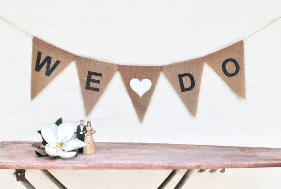 WE DO Hessian Burlap Wedding Celebration Party Banner Bunting Decoration Garland Photo prop engagement